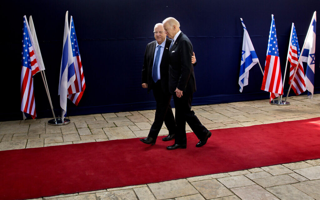 US then-vice president Joe Biden, right, walks with President Reuven Rivlin during their meeting at the President's Residence in Jerusalem, March 9, 2016. (AP Photo/Sebastian Scheiner)
