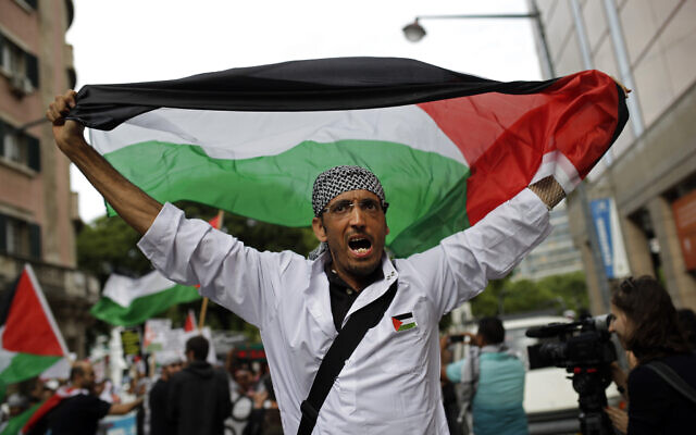Illustrative: A man holding up a Palestinian flag shouts slogans during a protest against Israeli army strikes in the Gaza strip, Friday, Aug. 1, 2014, in Lisbon.   (AP Photo/Francisco Seco)