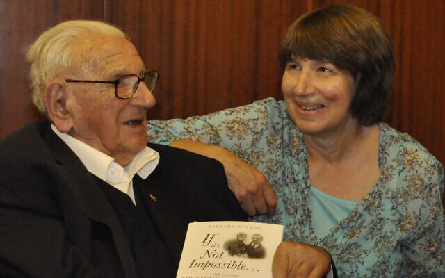 Nicholas Winton with daughter Barbara Winton at the launch of his biography in 2014 on his 105th birthday. (Barbara Winton)