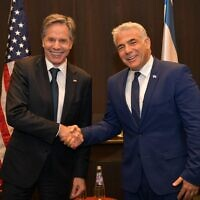 US Secretary of State Antony Blinken and Opposition chairman Yair Lapid in Jerusalem on May 25, 2021. (Yair Lapid/Twitter)