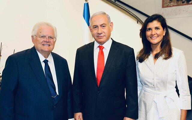 Former prime minister Benjamin Netanyahu (C) hosts CUFI president John Hagee (L) and former US ambassador to the UN Nikki Haley at the Prime Minister's Residence in Jerualem on June 14, 2021. (Nikki Haley/Twitter)