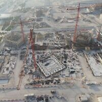 A photo showing 20% of construction complete in June 2021 at the future site of the Abrahamic Family House in Abu Dhabi. (Abu Dhabi Government Media Office)