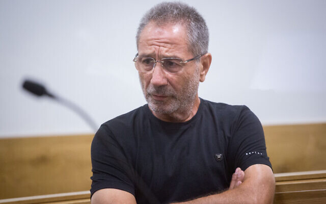 Meir Abergil of the Abergil crime family, seen in the District Court in Tel Aviv on July 18, 2018, (Miriam Alster/Flash90)