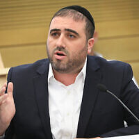 Shas MK Moshe Arbel attends an emergency Knesset conference on disasters at construction sites in Israel on May 27, 2019. (Noam Revkin Fenton/ Flash90/ File)