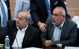 Knesset Members Osama Saadi and Ahmad Tibi attend a Knesset committee meeting on September 9, 2019. (Yonatan Sindel/Flash90)