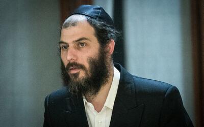 Motti Babchik seen in the Knesset on March 3, 2020 (Yonatan Sindel/Flash90)