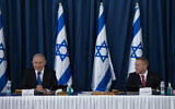 Prime Minister Benjamin Netanyahu and  newly appointed ambassador to the UN and the US Gilad Erdan attend the weekly cabinet meeting, at the Ministry of Foreign Affairs in Jerusalem on July 5, 2020.  (Amit Shabi/POOL)