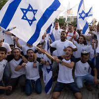 Participants in the Flag March in Jerusalem's Old City on May 10, 2021. (Nati Shohat/Flash90