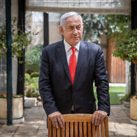 Then-Prime Minister Benjamin Netanyahu at the Prime Minister's  Residence in Jerusalem, on March 18, 2021.(Yonatan Sindel/Flash90)