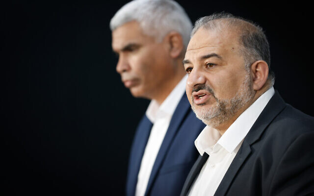 Mansour Abbas, head of the Ra'am party, gives a press statement after meeting with Israeli president Reuven Rivlin at the President's Residence in Jerusalem on April 5, 2021. (Yonatan Sindel/Flash90)