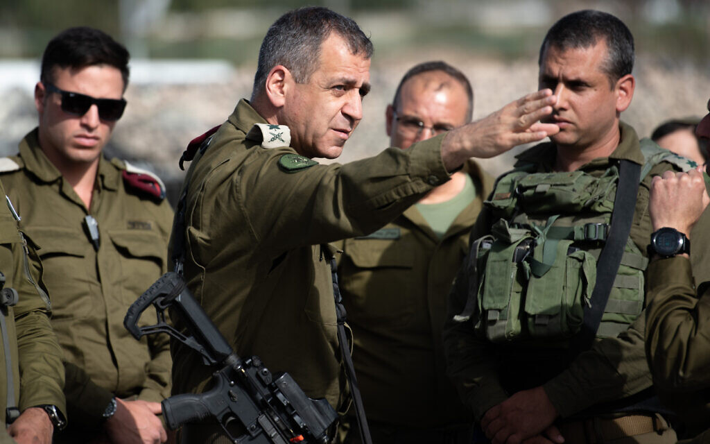 IDF Chief of Staff Lt. Gen. Aviv Kohavi (center)  at the scene of shooting attack in Tapuah Junction, south of the West Bank city of Nablus, on May 3, 2021. (Sraya Diamant/Flash90)