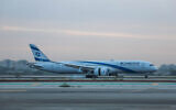 An airplane takes off at Ben Gurion International Airport, on May 7, 2021. (Yossi Aloni/FLASH90)