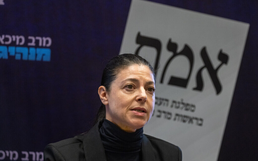 Labor party leader Merav Michaeli speaks during a faction meeting at the Knesset, on May 24, 2021. (Olivier Fitoussi/Flash90)