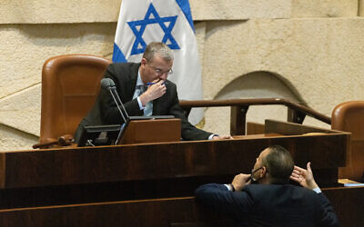 Knesset Speaker Yariv Levin during a special session honoring Jerusalem Day at the Knesset on May 24, 2021. (Olivier Fitoussi/Flash90)