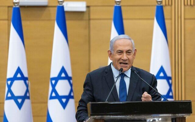 Prime Minister Benjamin Netanyahu speaks during a press conference at the Knesset, in Jerusalem, on May 30, 2021. (Yonatan Sindel/Flash90)