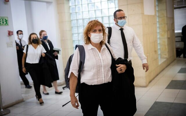 Liat Ben-Ari, the top prosecutor in Prime Minister Benjamin Netanyahu's corruption trial, and other prosecutors arrive at the Jerusalem District Court on May 31, 2021. (Yonatan Sindel/Flash90)