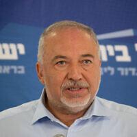 Yisrael Beytenu leader Avigdor Liberman speaks during a Knesset faction meeting on May 31, 2021. (Yonatan Sindel/Flash90)