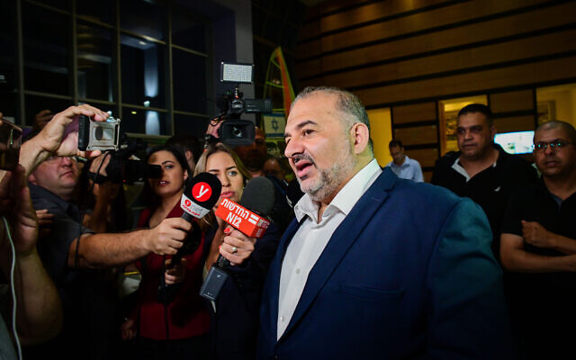 Mansour Abbas, head of the Ra'am party arrives to coalition talks at the Maccabiah village in Ramat Gan on June 2, 2021. (Avshalom Sassoni/Flash90