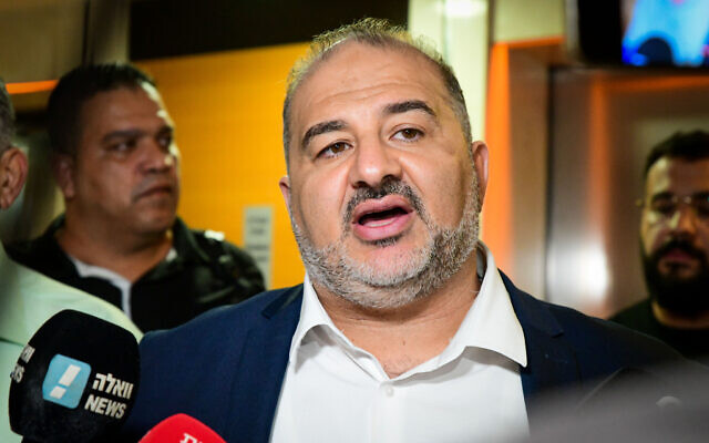 Mansour Abbas, head of the Ra'am party seen after signing the coalition agreement, at the Maccabiah village in Ramat Gan on June 2, 2021. (Avshalom Sassoni/Flash90)