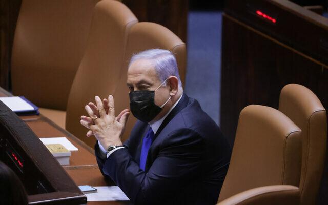 Prime Minister Benjamin Netanyahu sits in the Knesset plenum in Jerusalem, June 2, 2021. (Olivier Fitoussi/Flash90)