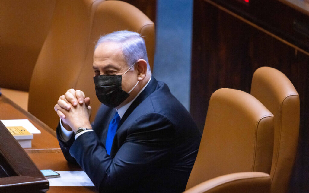 Prime Minister Benjamin Netanyahu seen in the plenum hall of the Israeli parliament during the voting in the presidential elections, in Jerusalem, June 2, 2021. (Olivier Fitoussi/Flash90)