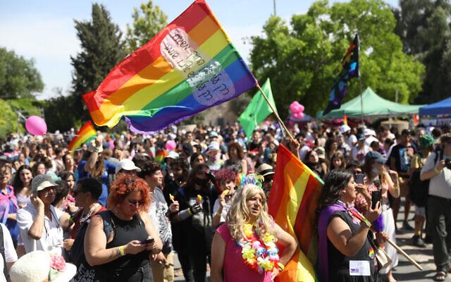People take part in a rally marking the annual Pride Parade in Jerusalem, June 3, 2021. (Noam Revkin Fenton/Flash90)