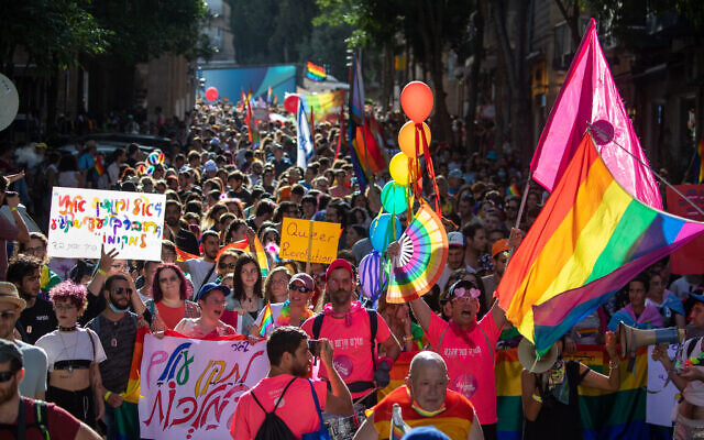 Thousands of people take part in the annual Gay Pride Parade in Jerusalem, June 3, 2021. (Olivier Fitoussi/Flash90)