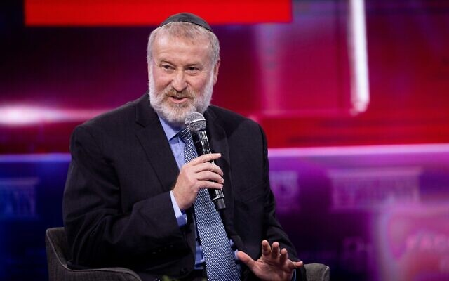Attorney General Avichai Mandelblit speaks at a conference held by Channel 13 news in Jerusalem on June 3, 2021. (Yonatan Sindel/Flash90)