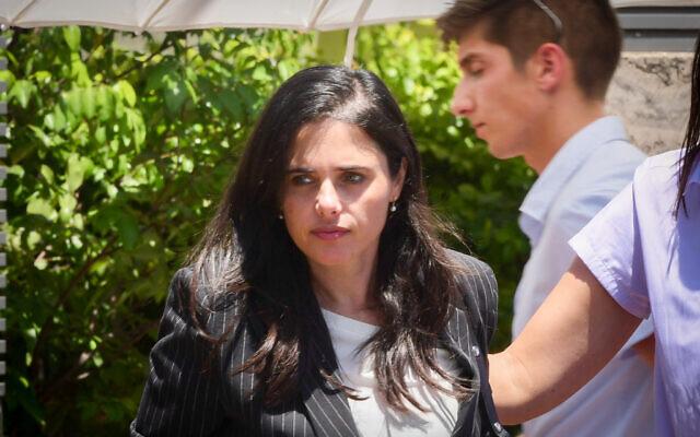 Yamina MK Ayelet Shaked arrives for a meeting with Yamina party leader Naftali Bennett and fellow Yamina MKs, at Bennett's home in Ra'anana, on June 4, 2021. (Avshalom Sassoni/Flash90)