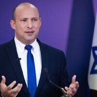 Yamina leader and Prime Minister-designate Naftali Bennett speaks at the Knesset, June 6, 2021. (Yonatan Sindel/ Flash90)