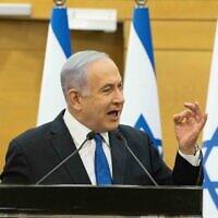 Prime Minister Benjamin Netanyahu speaks during a Likud faction meeting at the Knesset on June 6, 2021. (Yonatan Sindel/Flash90)
