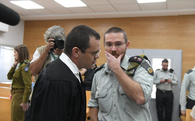 The attorney for the family of a Military Intelligence officer who died in prison attends a hearing at the military court at IDF headquarter in Tel Aviv, on June 7, 2021. (Flash90)