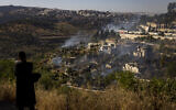 View of a forest fire raging in Lifta at the entrance to Jerusalem, on June 07, 2021. (Olivier Fitoussi/Flash90)