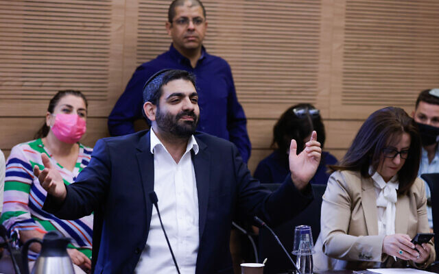 Shas MK Michael Michaeli reacts during a meeting of the Arrangements Committee at the Knesset, in Jerusalem, on June 9, 2021. (Olivier Fitoussi/Flash90)