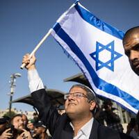 Far-right Religious Zionism party lawmaker MK Itamar Ben Gvir visits the Damascus Gate of the Old City of Jerusalem, June 10, 2021. (Yonatan Sindel/Flash90)
