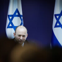 Head of the Yamina party Naftali Bennett seen during a meeting with heads of the prospective unity government at the Knesset on June 13, 2021 (Olivier Fitoussi/Flash90)