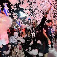 Israelis celebrate the new government at Rabin Square in Tel Aviv on June 13, 2021. (Tomer Neuberg/FLASH90)