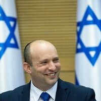 Israeli Prime Minister Naftali Bennett leads the first government conference, at the Israeli parliament on June 13, 2021. (Yonatan Sindel/Flash90)