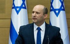 Prime Minister Naftali Bennett at the Knesset on June 13, 2021 (Yonatan Sindel/Flash90)