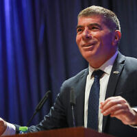 Outgoing foreign minister Gabi Ashkenazi speaks at a ceremony welcoming his replacement, Yair Lapid, at the Foreign Ministry in Jerusalem on June 14, 2021. (Flash90)