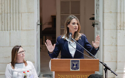 New Minister of Education Yifat Shasha-Biton speaks at a ceremony as she takes over from Yoav Gallant, at the Education Ministry in Jerusalem on June 14, 2021. (Olivier Fitoussi/FLASH90)