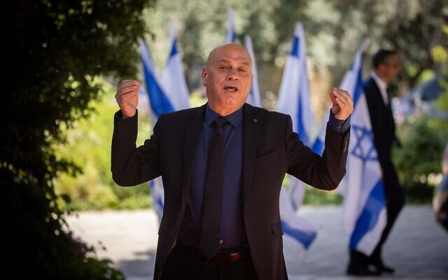 Minister for Regional Cooperation Issawi Frej arrives at the President's Residence in Jerusalem, June 14, 2021 (Yonatan Sindel/Flash90)