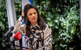 Interior Minister, Ayelet Shaked at a ceremony at the Interior Ministry in Jerusalem on June 14, 2021. (Yonatan Sindel/Flash90)