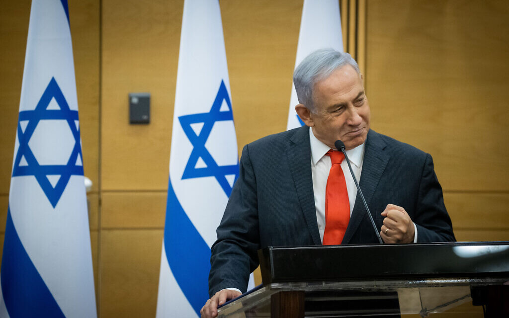Opposition leader Benjamin Netanyahu leads a meeting of right-wing parties in the Knesset on June 14, 2021. (Yonatan Sindel/Flash90)