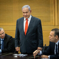 Former prime minister Benjamin Netanyahu leads a meeting of the right-wing and religious opposition parties at the Knesset, June 14, 2021. At left is Likud MK Yariv Levin; at right is Likud former coalition chief MK MIki Zohar (Yonatan Sindel/Flash90)