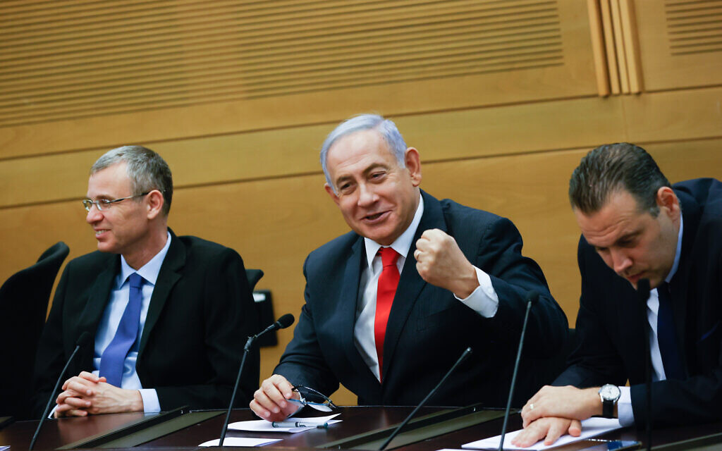 Opposition leader Benjamin Netanyahu leads a meeting of opposition MKs in the Knesset on June 14, 2021, a day after losing power (Yonatan Sindel/FLASH90)