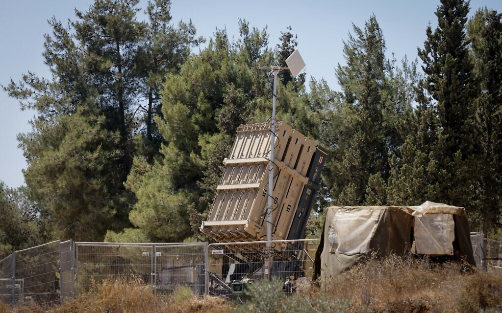 An Iron Dome anti-missile battery seen on June 15, 2021 (Olivier Fitoussi/Flash90)