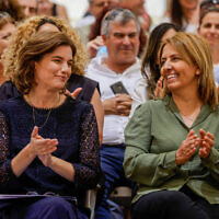 Newly appointed Minister of Environmental Protection Tamar Zandberg (right) with outgoing Minister of Environmental Protection Gila Gamliel (left), during the handover ceremony, held at the Environmental Protection Ministry in Jerusalem on June 15, 2021. (Olivier Fitoussi/Flash90)