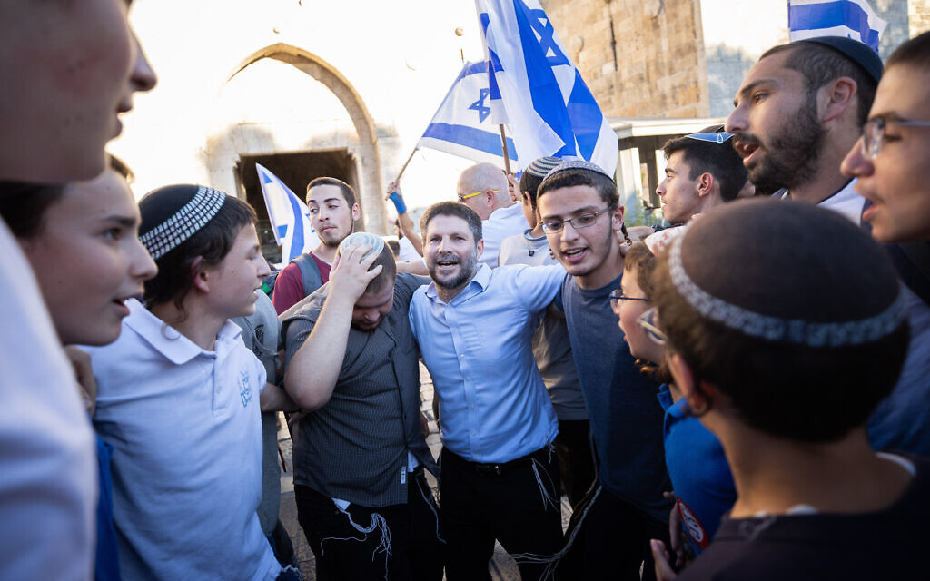 Religious Zionist leader Bezalel Smotrich takes part in the flag march at the Damascus Gate in Jerusalem's Old City, June 15, 2021. (Yonatan Sindel/Flash90)