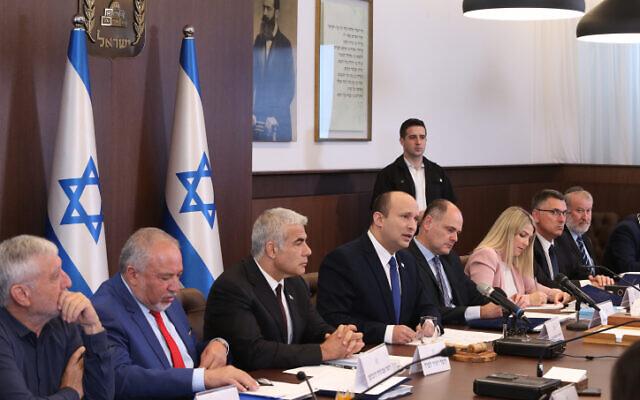 Prime Minister Naftali Bennett leads a cabinet meeting at the Prime Minister's Office in Jerusalem on June 20, 2021. (Amit Shabi/POOL)
